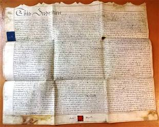 1789 Large Vellum Deed Lincoln, Red Wax Seal