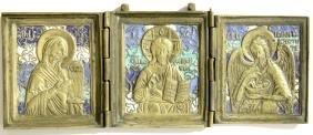 Deisis Metal Enamel Russian Icon Triptych, 19th C