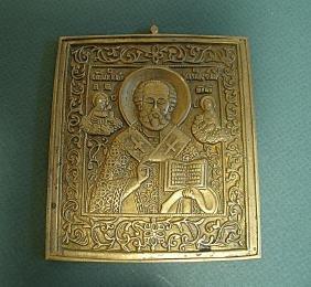 Saint Nicholas Brass Russian Icon, 19th C