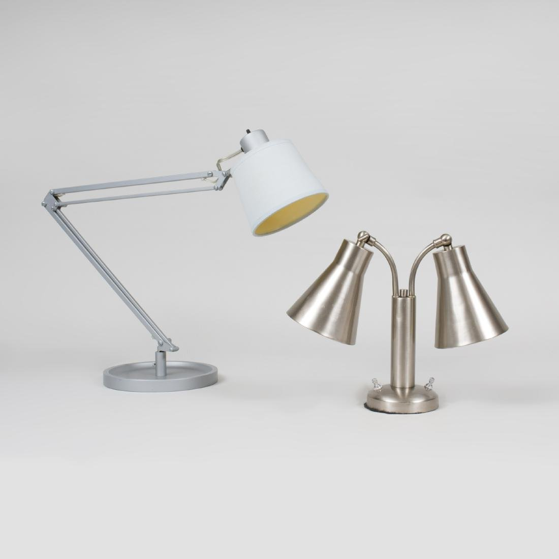 Pair of French Painted Metal Architect's Lamps with