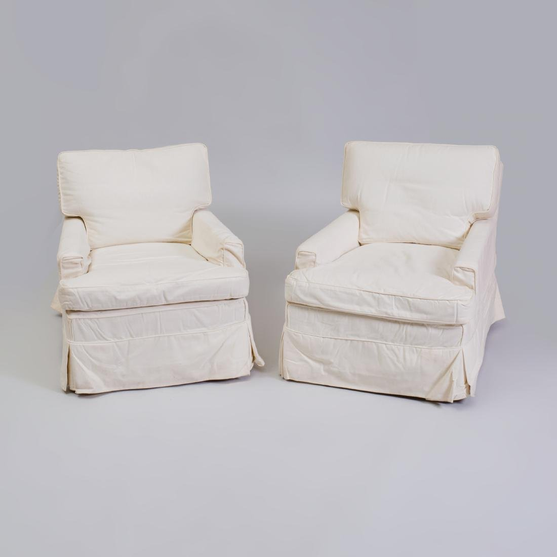 Pair of Cotton Slip Covered Club Chairs, Designed by