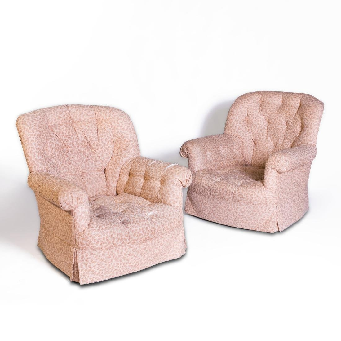 Pair of Tufted Linen Upholstered Club Chairs