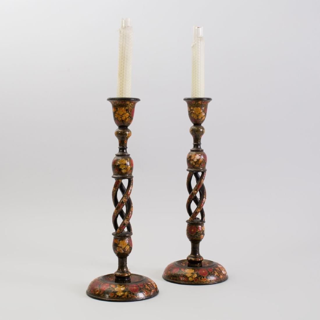 Pair of Kashmir Lacquer Candlesticks