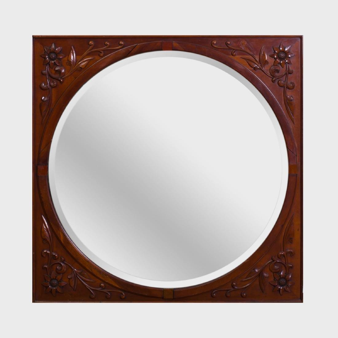 Continental Carved Mahogany Mirror, Modern