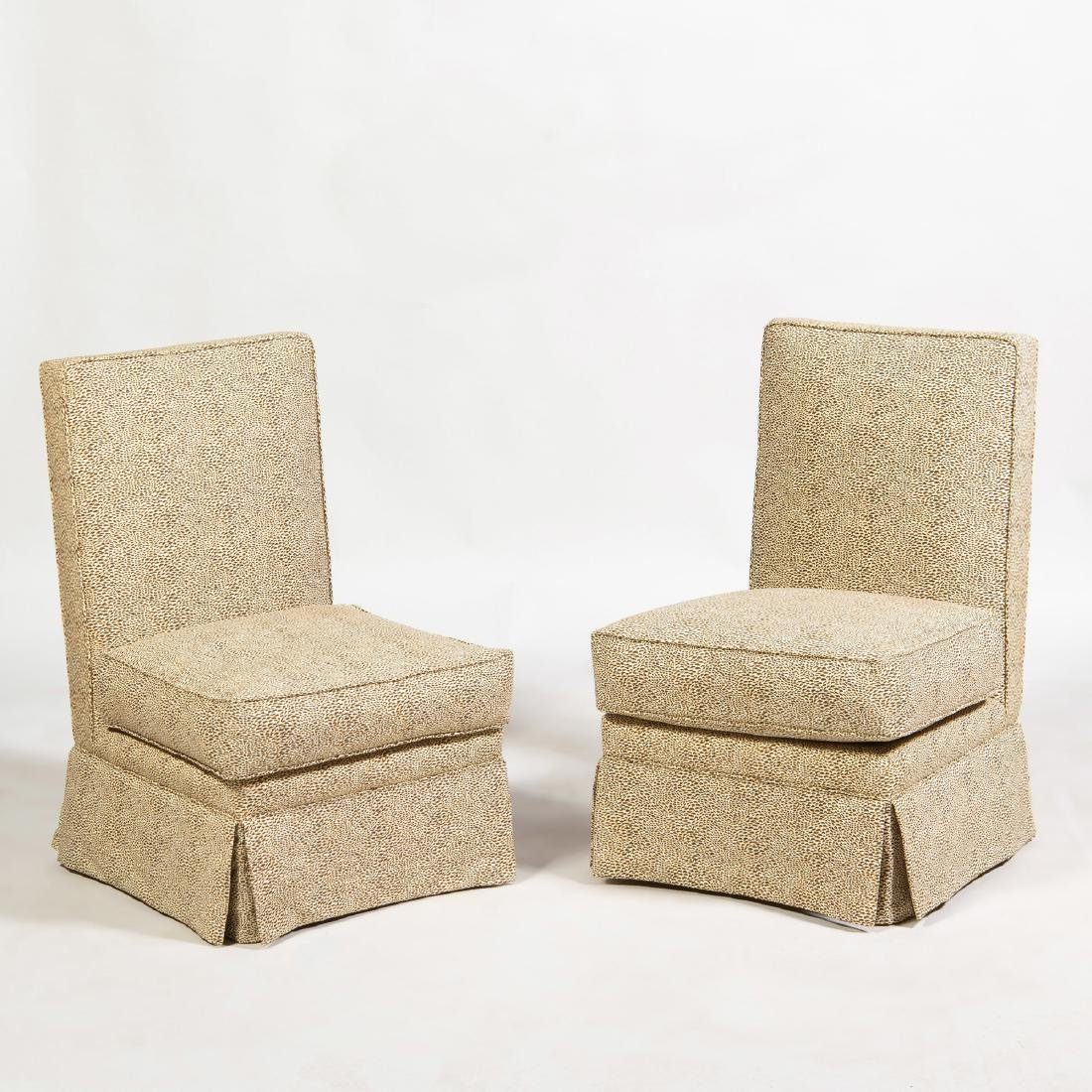 Pair of Upholstered Slipper Chairs, In the Manner of