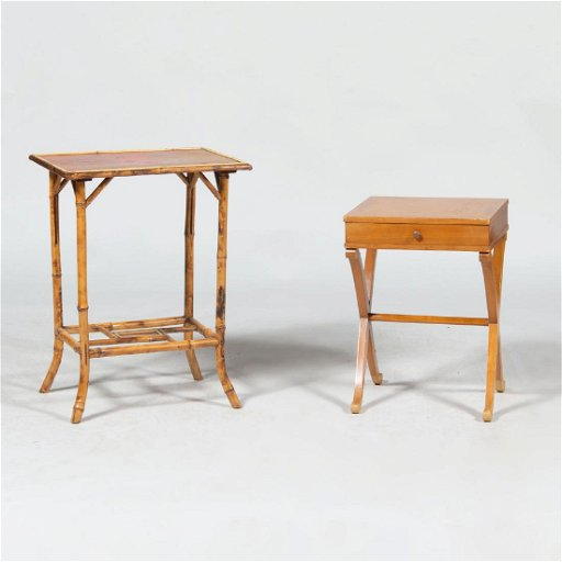 Groovy Chinese Bamboo Side Table And A Small Fruitwood Side Home Interior And Landscaping Ologienasavecom