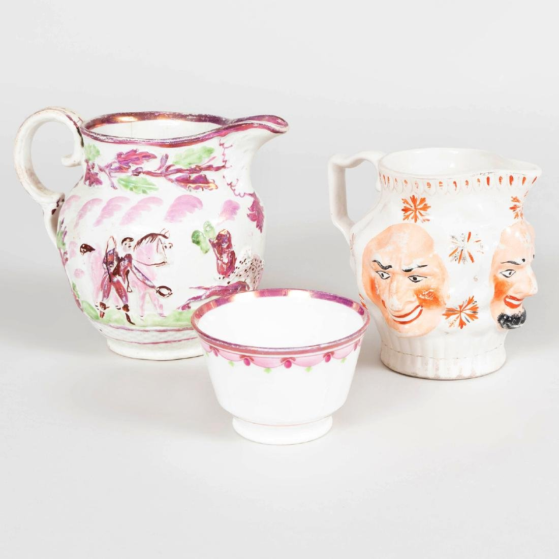 English Porcelain Face Jug, a Lusterware Porcelain Jug