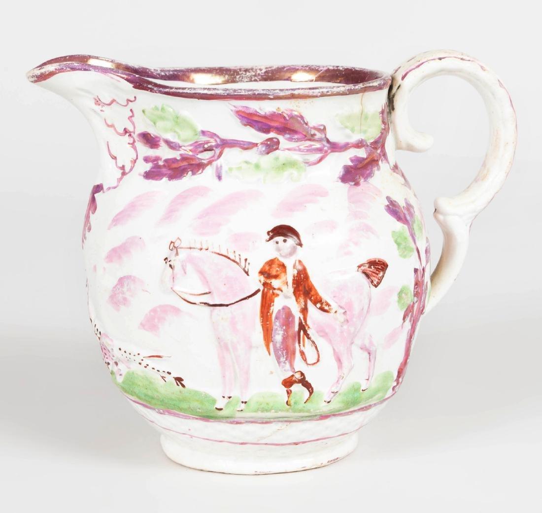 English Porcelain Face Jug, a Lusterware Porcelain Jug - 4