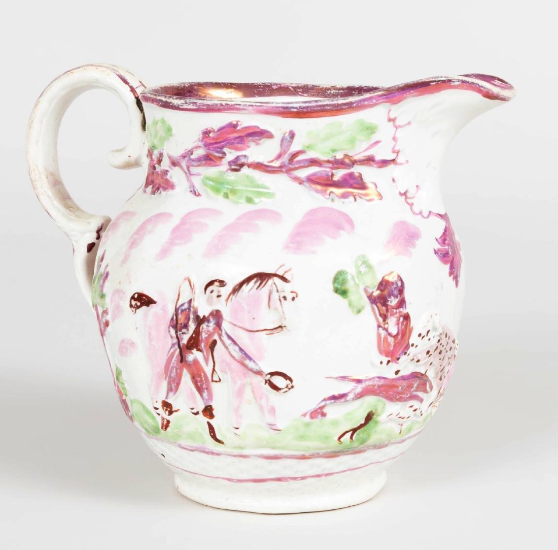 English Porcelain Face Jug, a Lusterware Porcelain Jug - 5