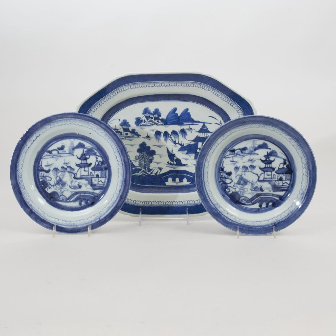Set of Twelve Canton Blue and White Porcelain Plates