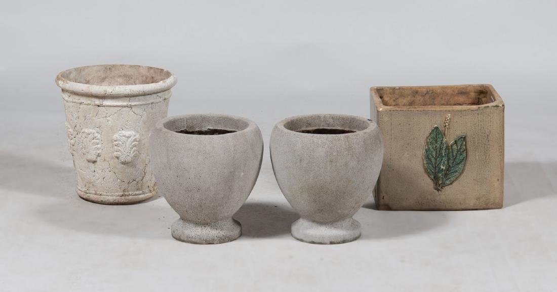 Group of Three Concrete Planters and a Pottery Planter