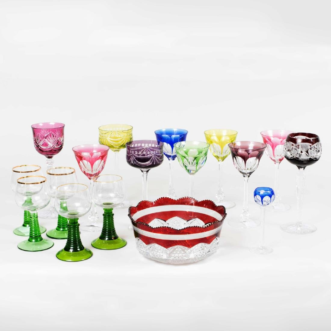 Group of Colored Cut Glass Stemware and Table Articles