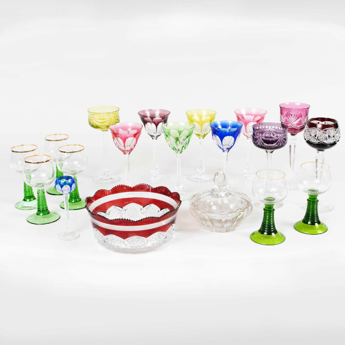 Group of Colored Cut Glass Stemware and Table Articles - 2