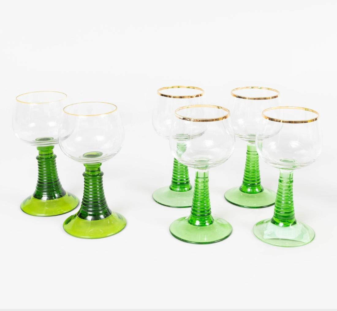 Group of Colored Cut Glass Stemware and Table Articles - 6