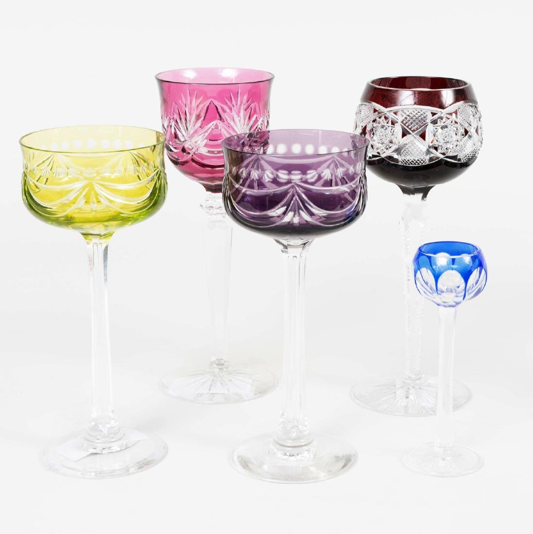 Group of Colored Cut Glass Stemware and Table Articles - 7