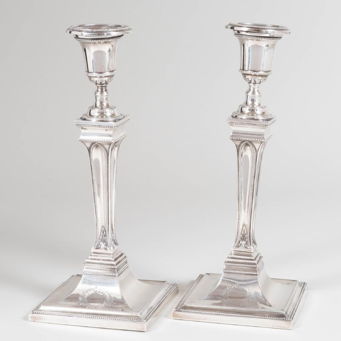 Pair of George III Silver Candlesticks - 2