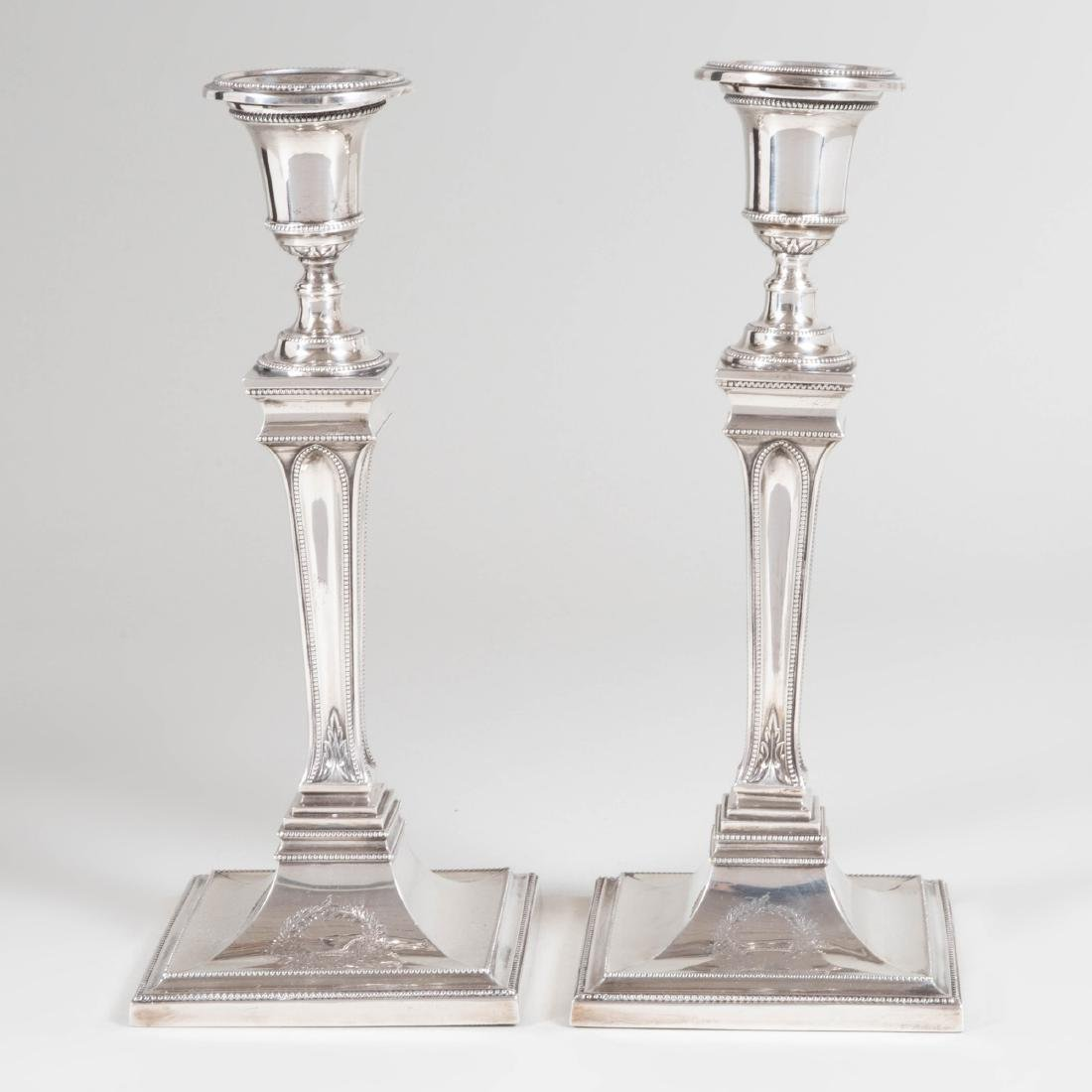 Pair of George III Silver Candlesticks - 3