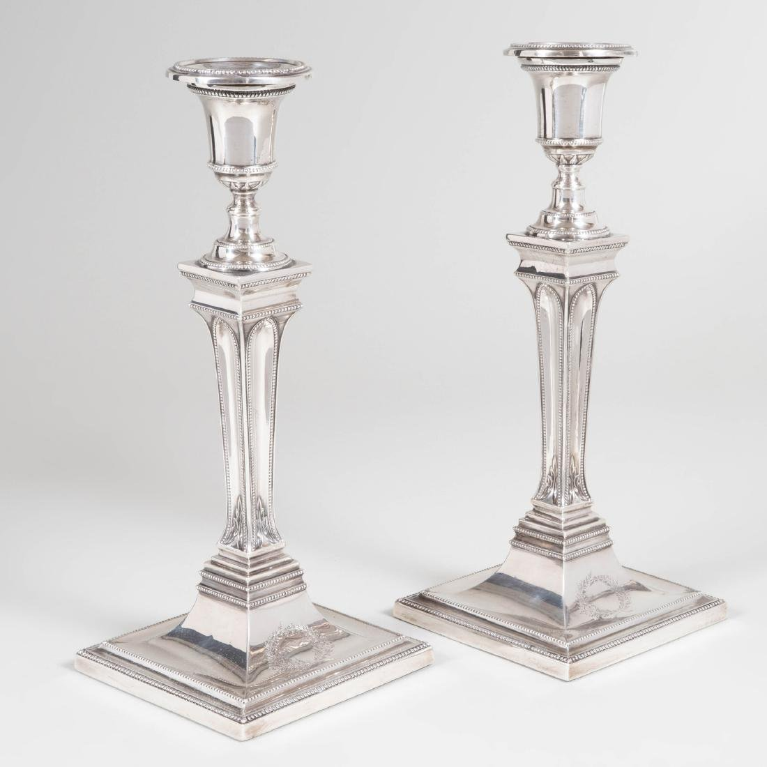 Pair of George III Silver Candlesticks - 7
