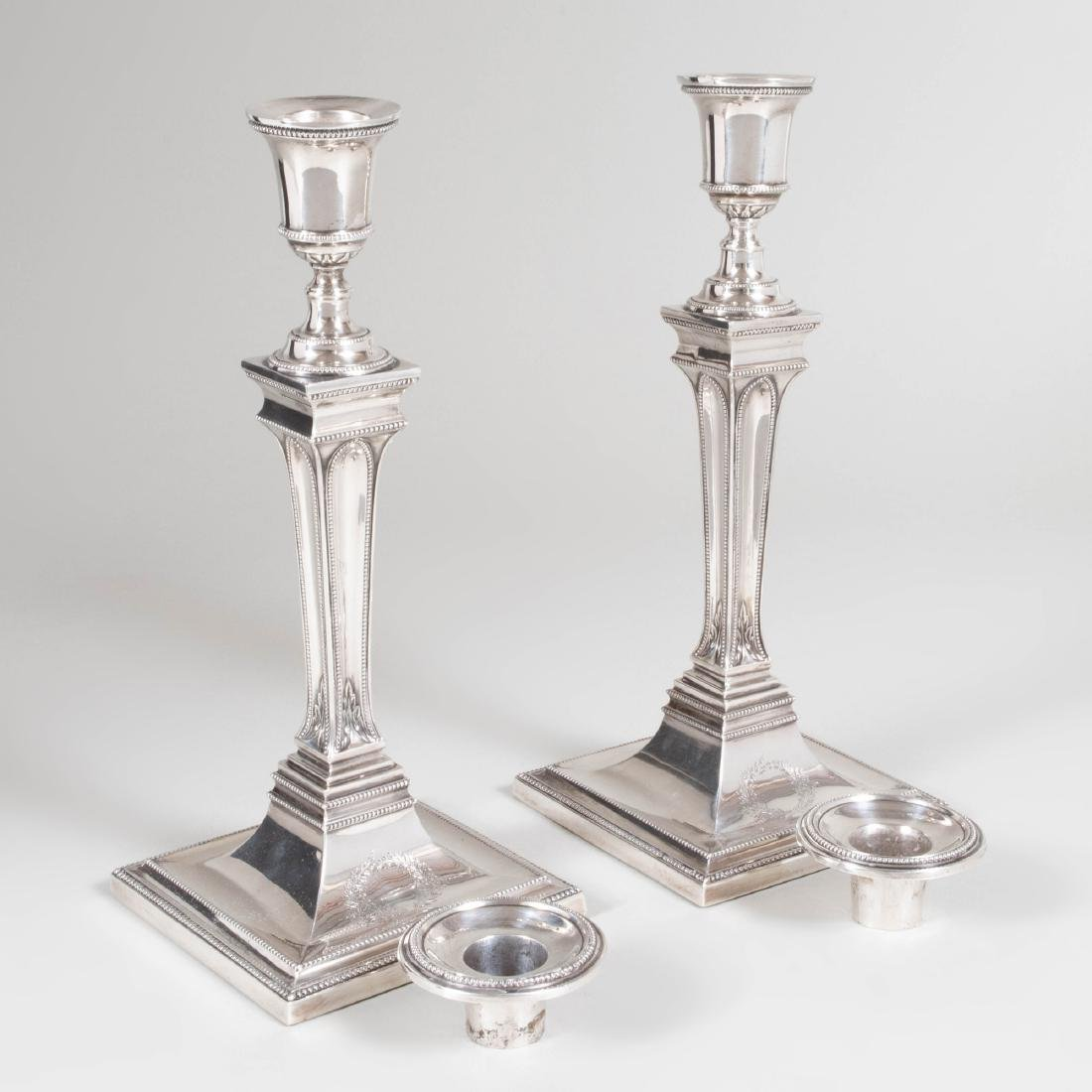 Pair of George III Silver Candlesticks - 9
