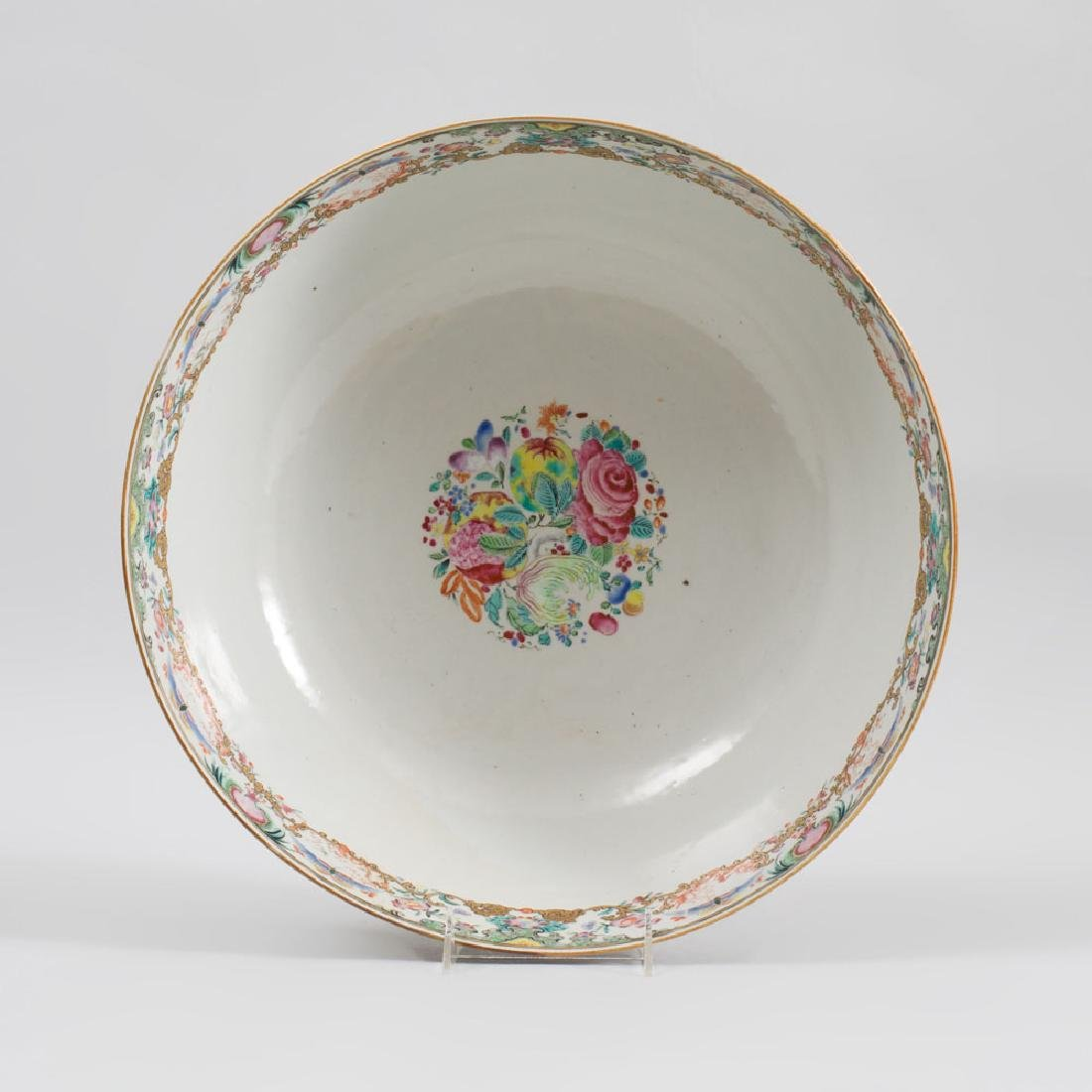 Large Chinese Export Porcelain Famille Rose Punch Bowl - 6