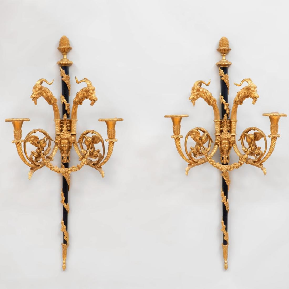 Pair of Louis XVI Style Gilt-and-Patinated Bronze