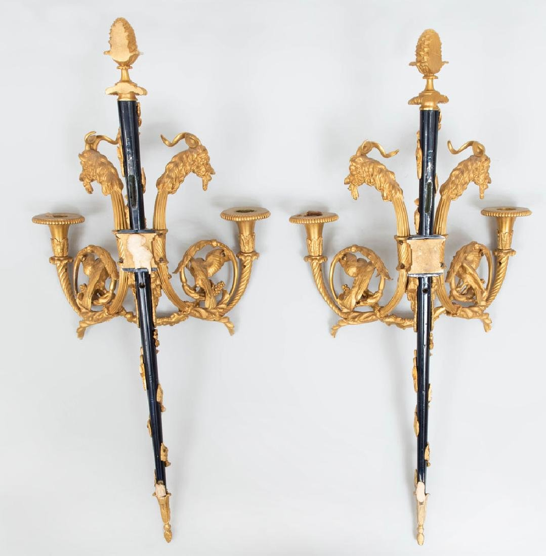 Pair of Louis XVI Style Gilt-and-Patinated Bronze - 2
