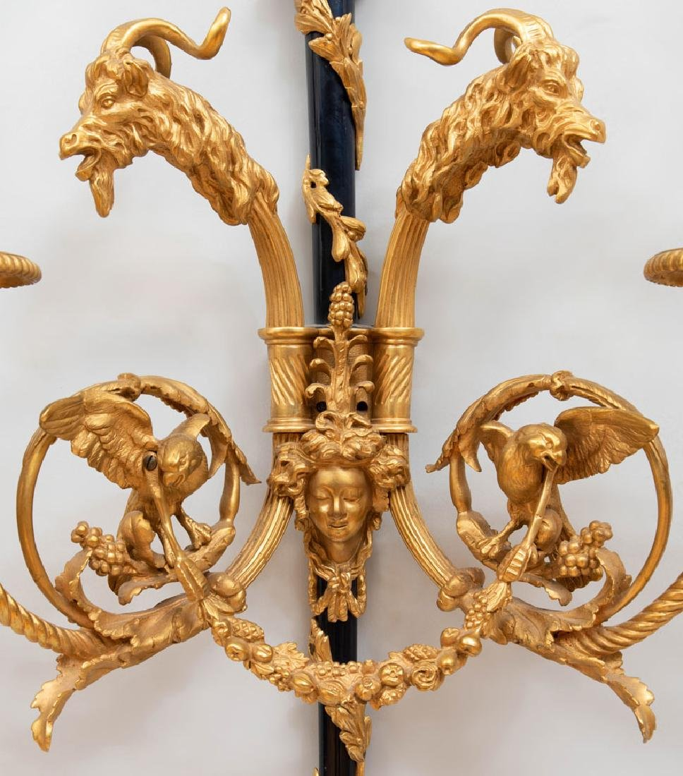 Pair of Louis XVI Style Gilt-and-Patinated Bronze - 5