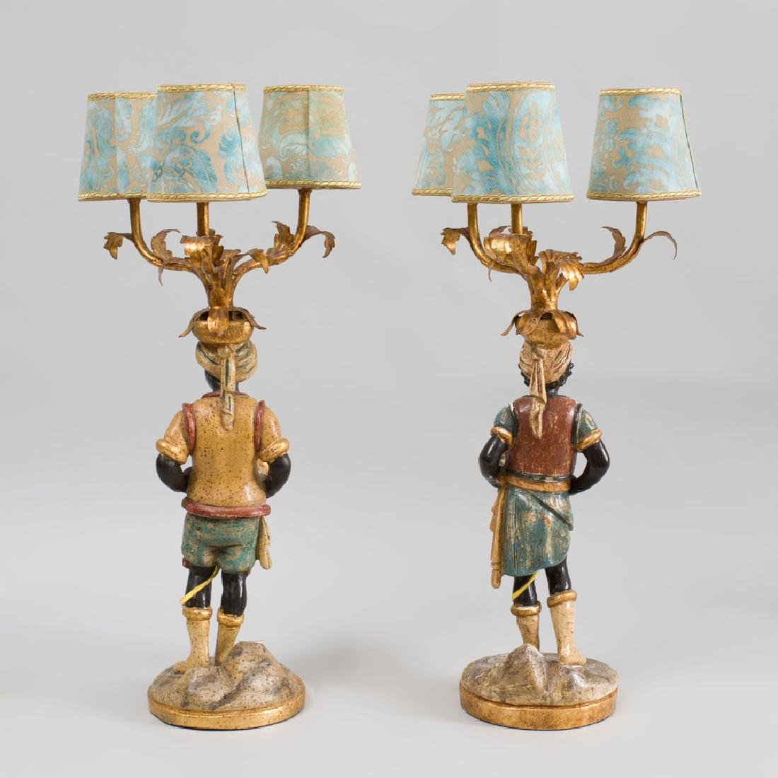 Pair of Italian Rococo Style Carved, Painted and - 3