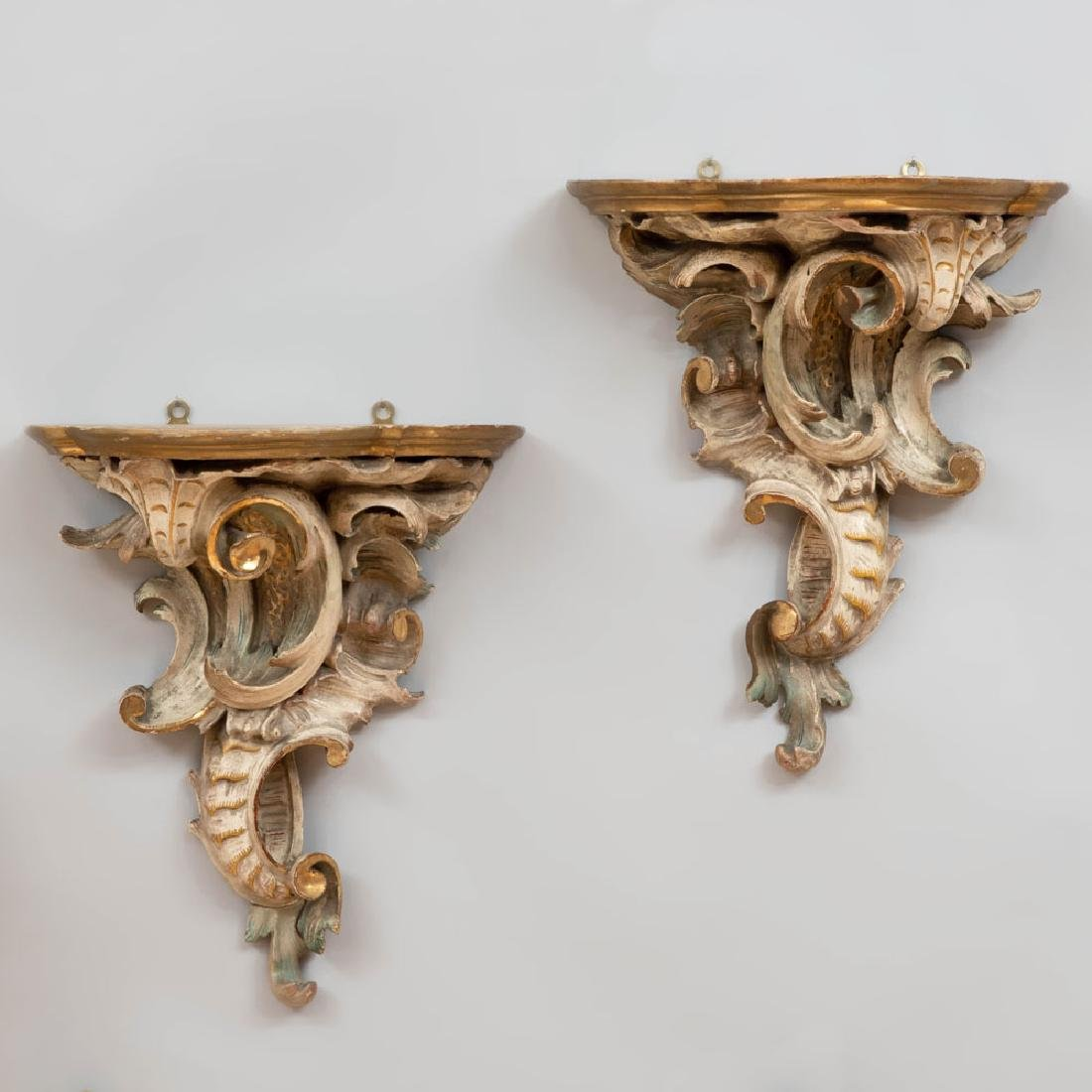Pair of Louis XV Style Carved, Painted and Parcel-Gilt
