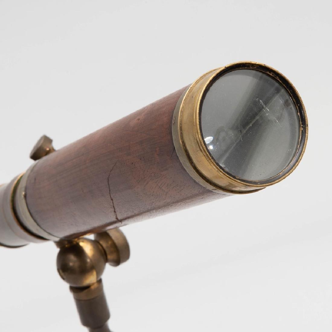 George III Brass and Mahogany Three-Drawer Telescope on - 5