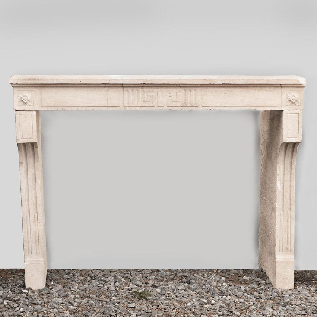 French Carved Limestone Fireplace, in the Louis XVI