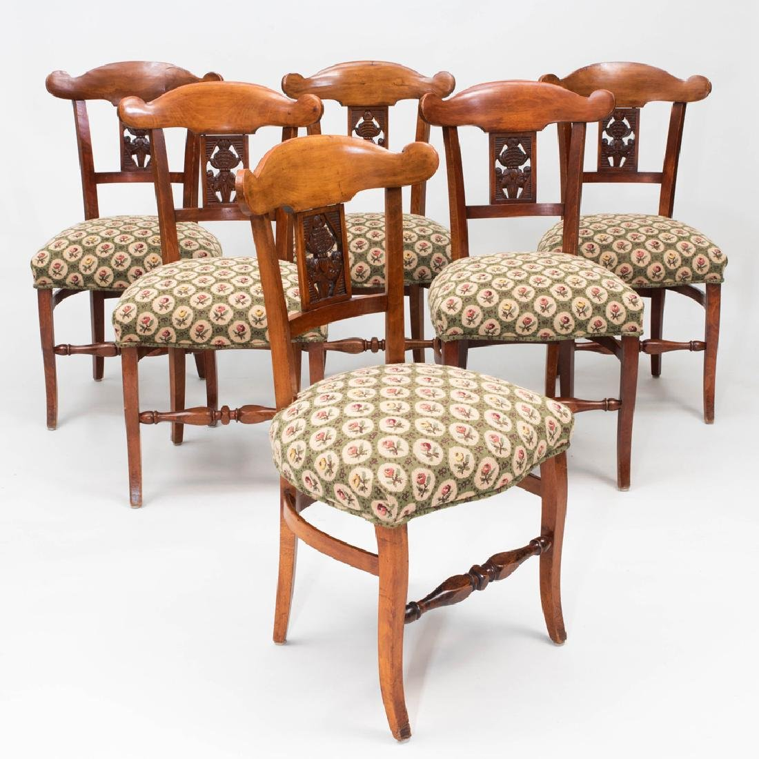 Set of Six Biedermeier Style Stained Fruitwood and
