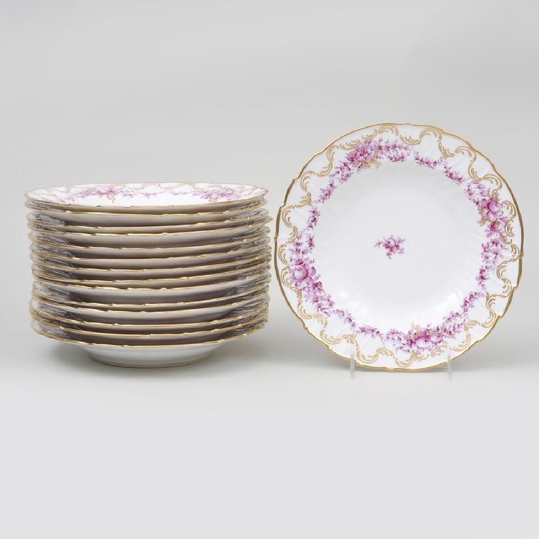Set of Fifteen Continental Porcelain Puce Transfer