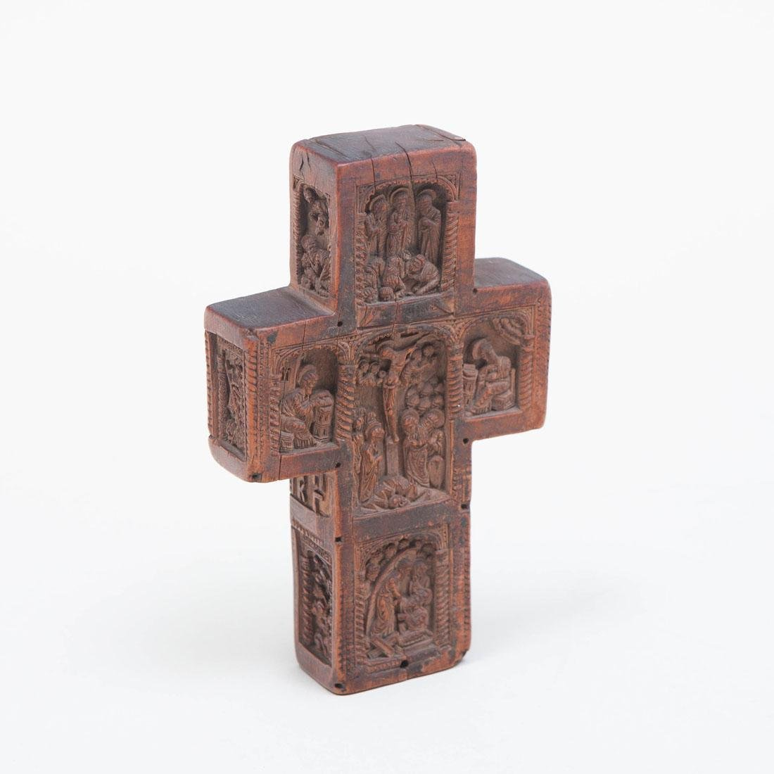 Small Russian Carved Wood Benediction Cross