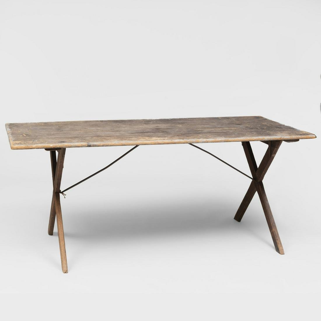 Pine Sawbuck Table with Metal Supports