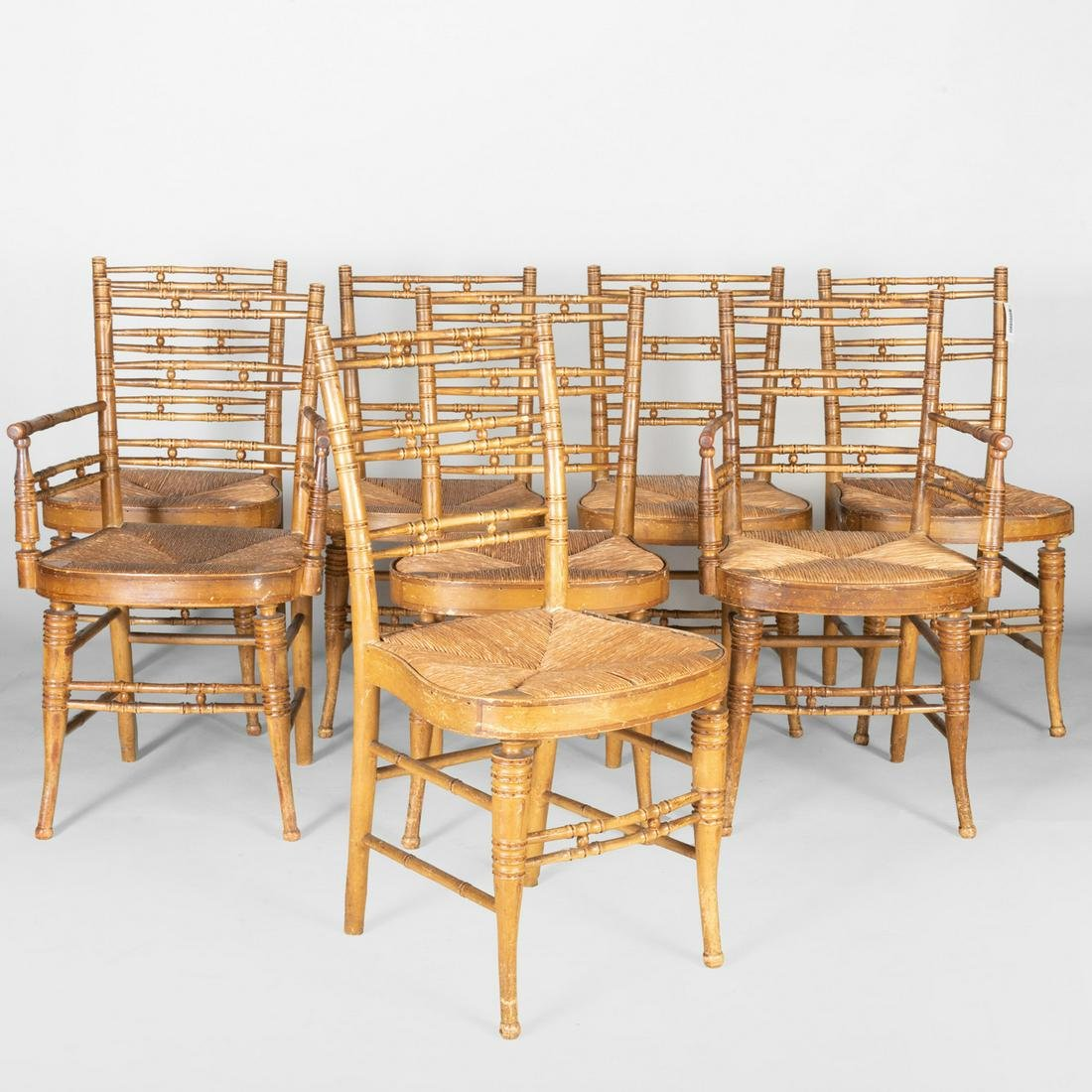 Eight Federal Faux Bamboo Turned and Painted Wood Rush