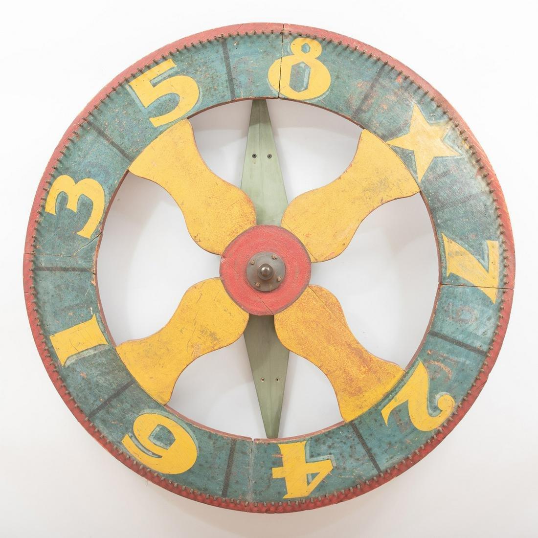 Folk Art Polychrome Painted Game Wheel