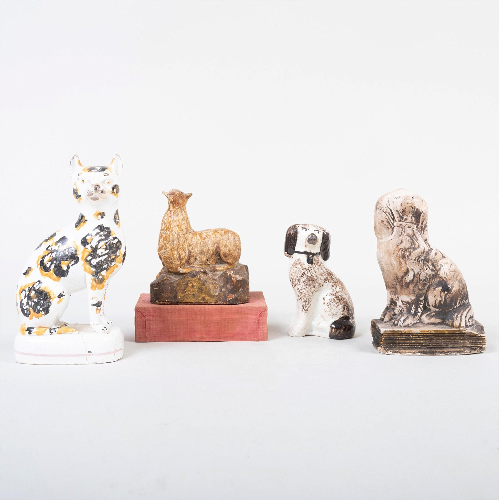 Staffordshire Model of a Spaniel and a Cat, a Chalkware
