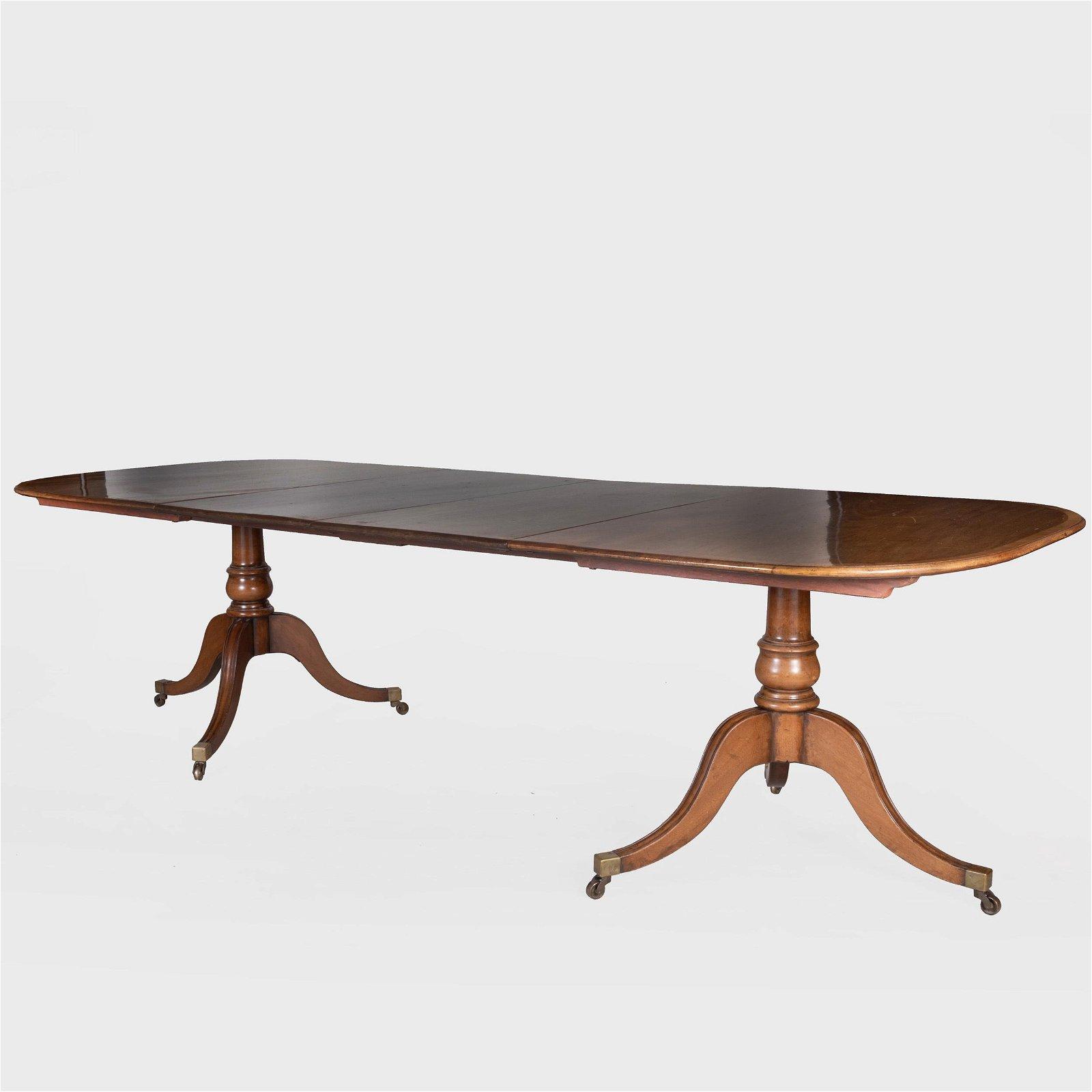 Regency Inlaid Mahogany Twin Pedestal Dining Table