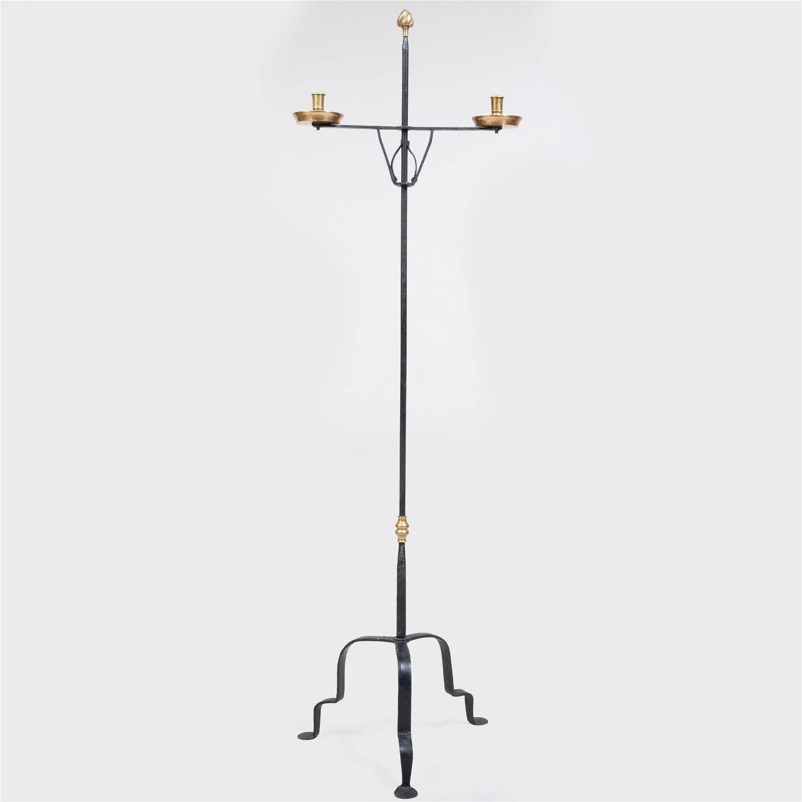 Brass and Wrought-Iron Two-Light Candlestand