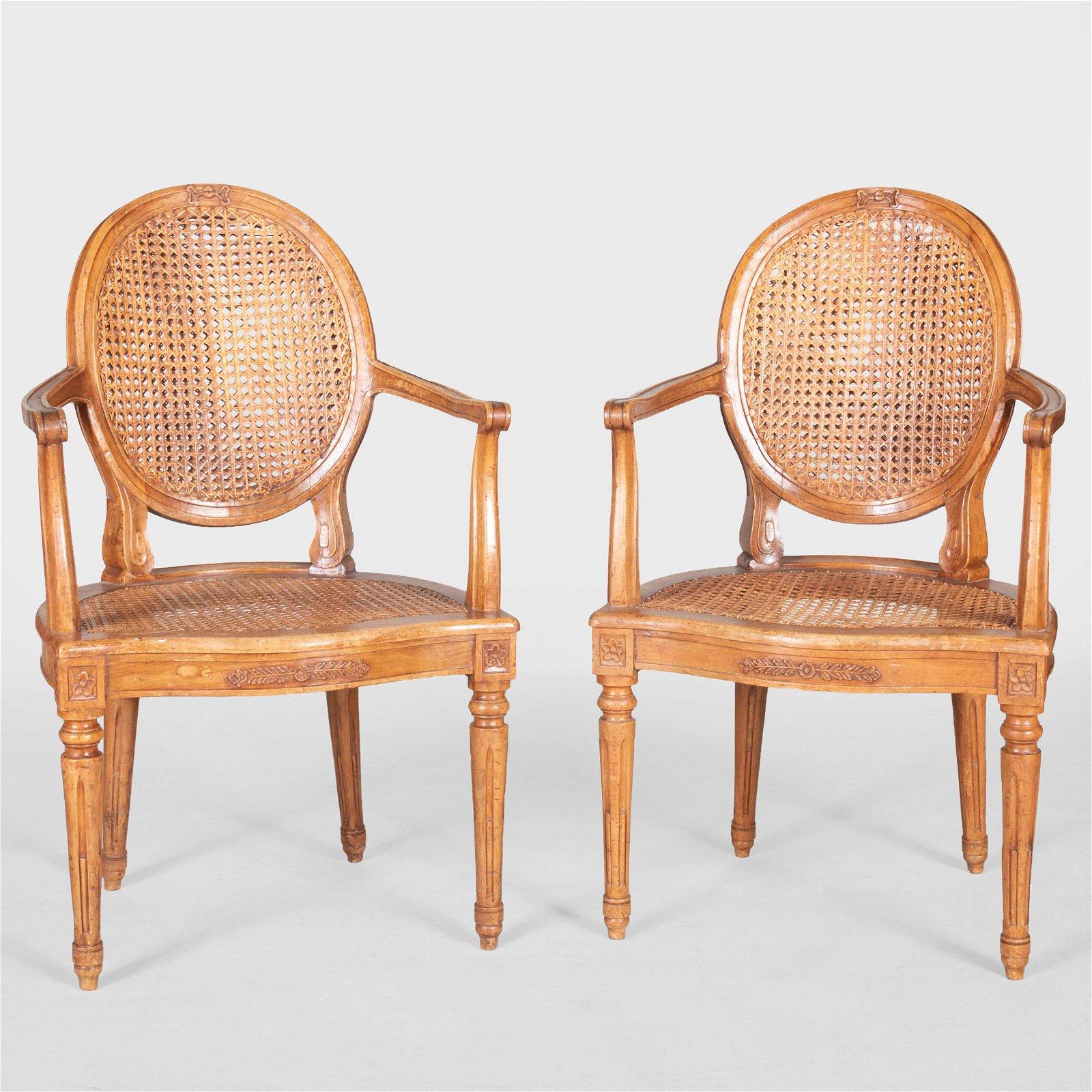 Pair of Louis XVI Style Carved Beechwood Fauteuils en