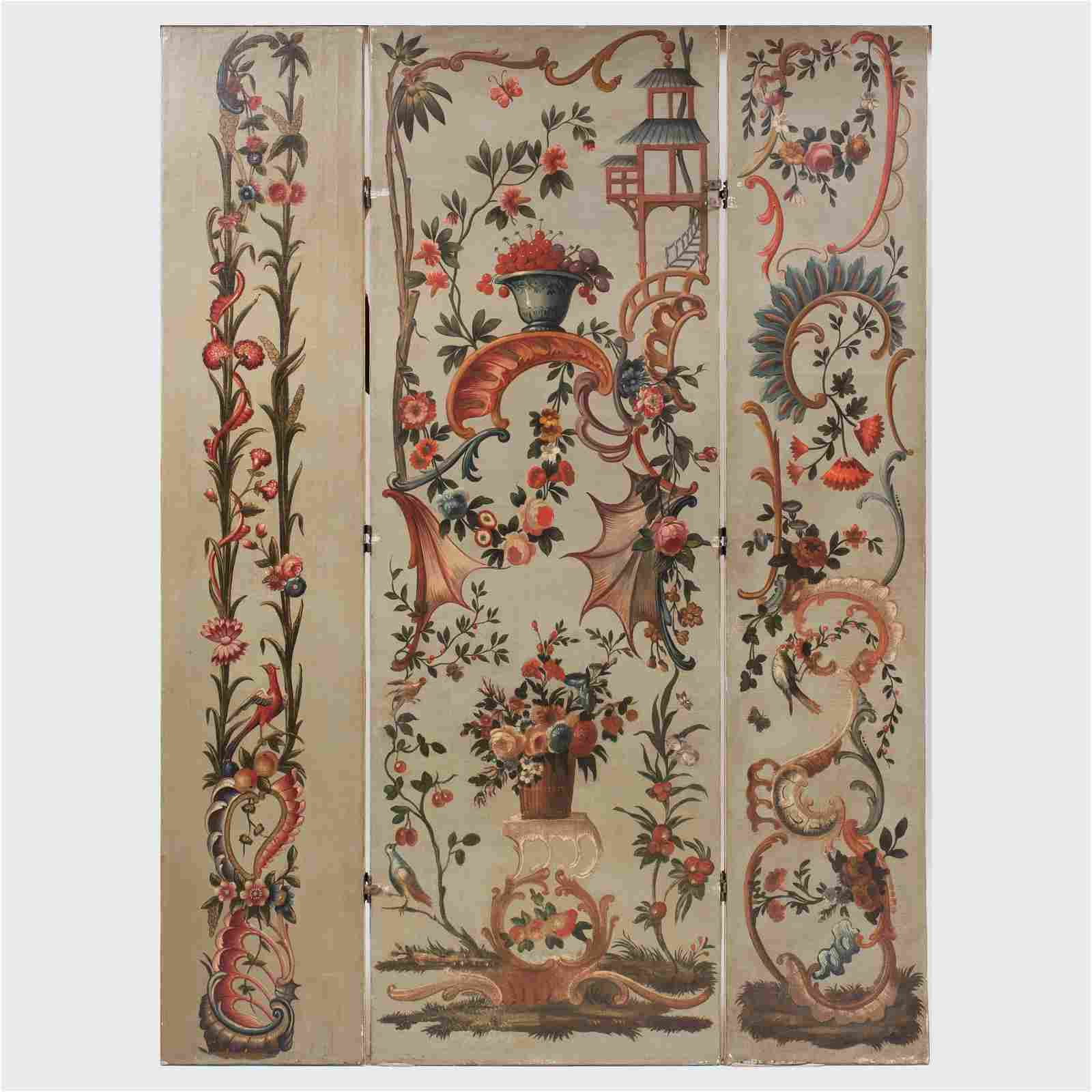 Continental Painted Canvas Three-Panel Screen