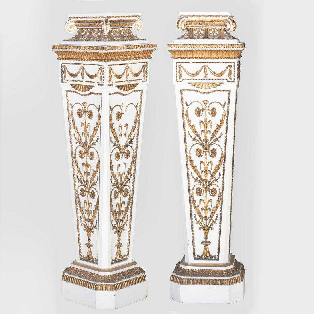 Pair of Louis XVI Style Painted and Parcel-Gilt