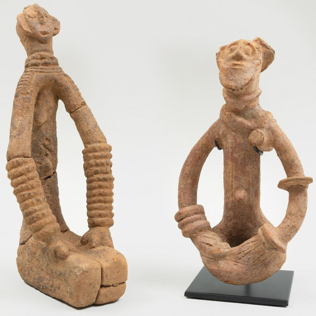 Two Bankoni Terracotta Seated Figures, Mali