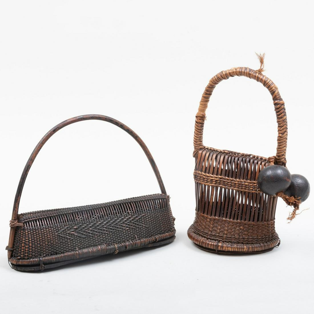 Two Democratic Republic of Congo Woven Reed and Leather