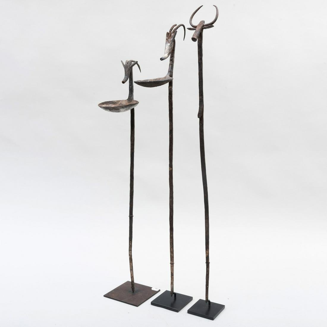 Two Bamana Iron Ceremonial Oil Lamps with a Bamana Iron