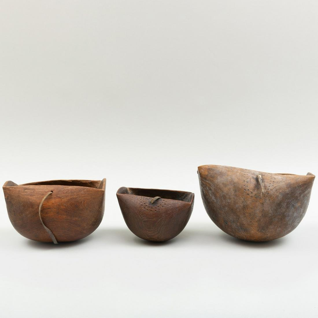 Group of Three Kenyan Wood Milk Vessels