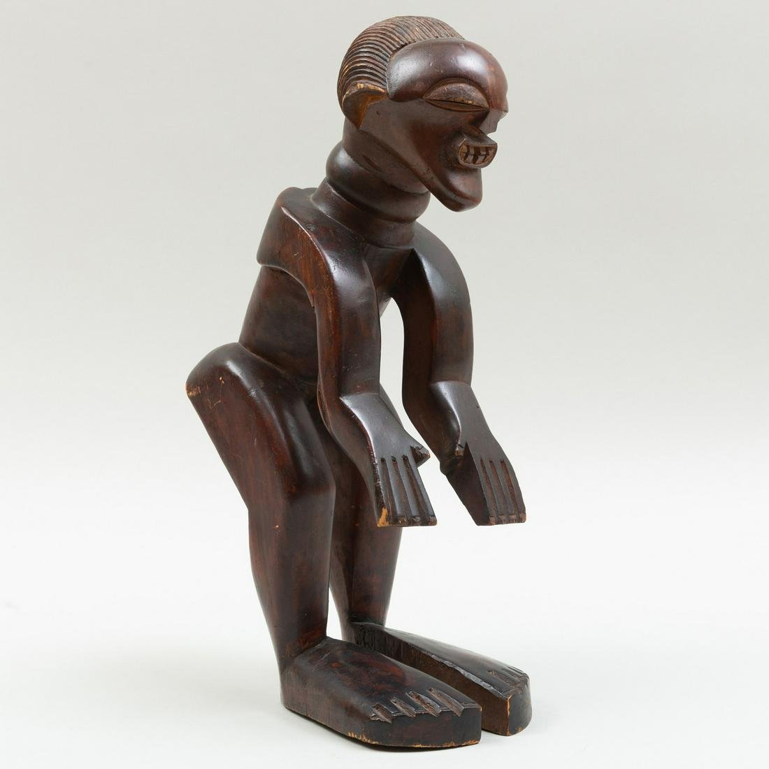 Rare Songye Carved Wood Power Figure, Democratic