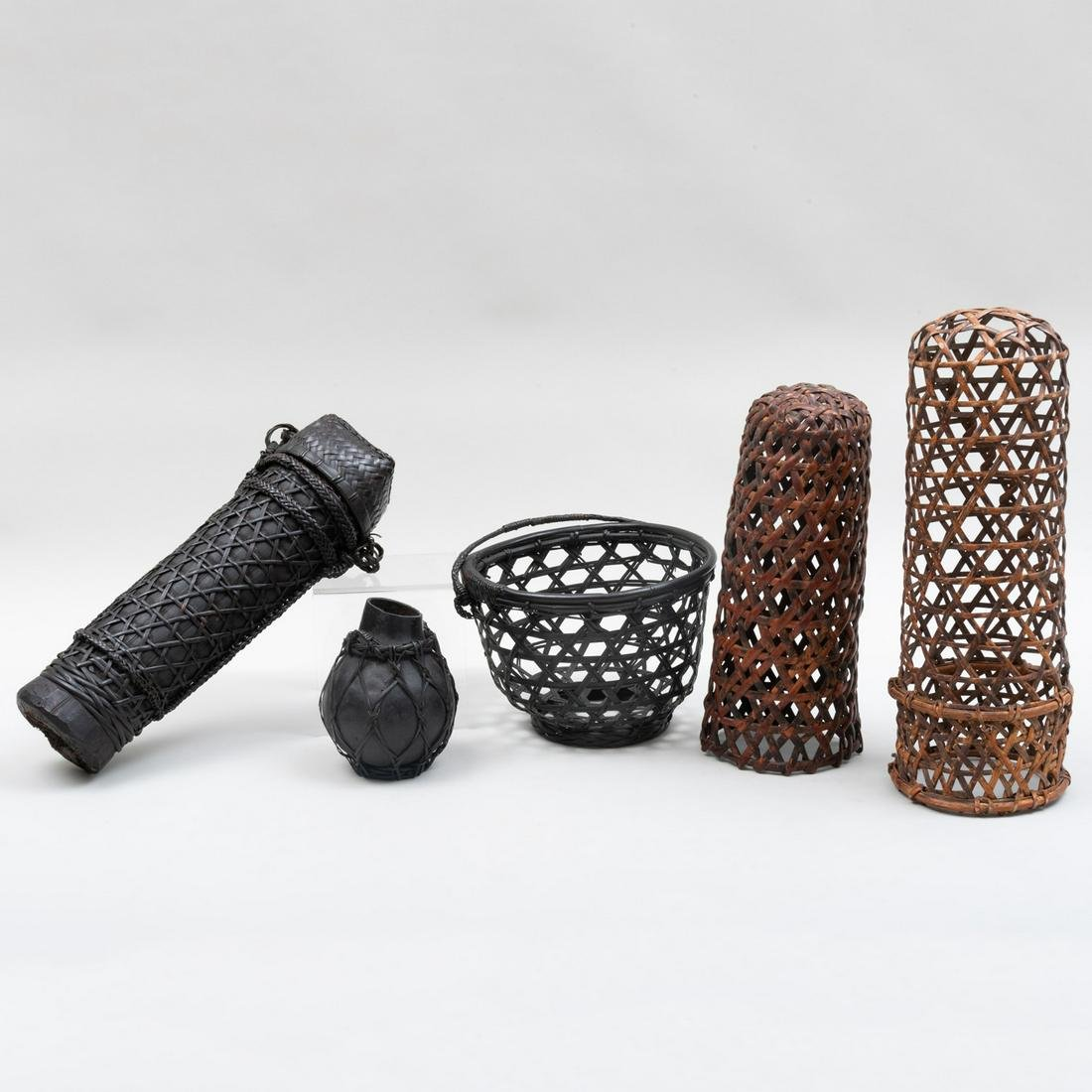 Group of Four Southeast Asian Braided Rattan Vessels