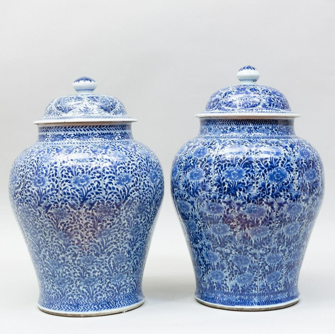 Near Pair of Large Chinese Export Blue and White
